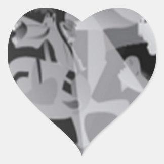 Diseño dentado del borde pegatina en forma de corazón