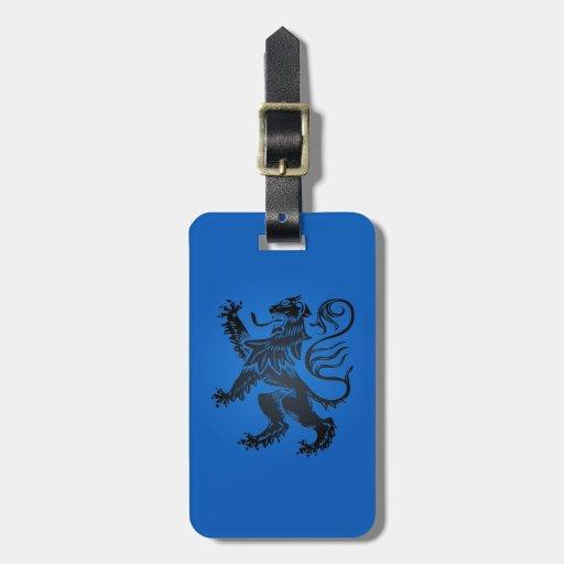 Diseño desenfrenado del león, azul y negro complej etiqueta de maleta