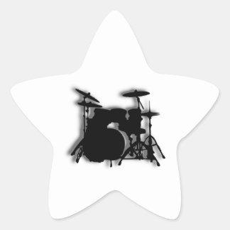 Diseño determinado de la música del tambor pegatina en forma de estrella