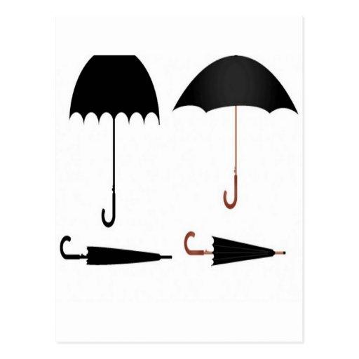 Diseño determinado del vector del paraguas tarjetas postales