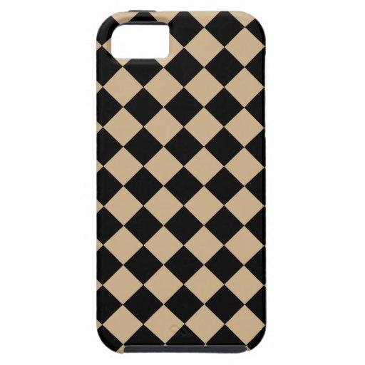 Diseño diagonal del tablero de damas del moreno y  iPhone 5 coberturas