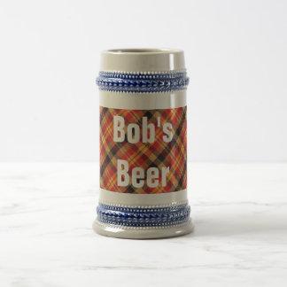 Diseño diagonal rojo y negro amarillo de la tela jarra de cerveza