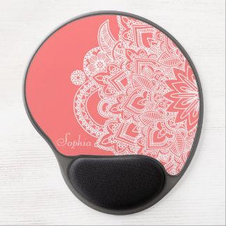 Diseño dibujado mano de moda linda de la alheña de alfombrilla de raton con gel