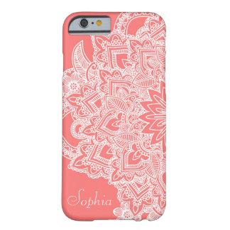 Diseño dibujado mano de moda linda de la alheña de funda de iPhone 6 barely there