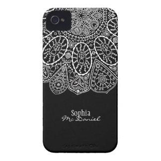 Diseño dibujado mano del círculo de la alheña Case-Mate iPhone 4 fundas