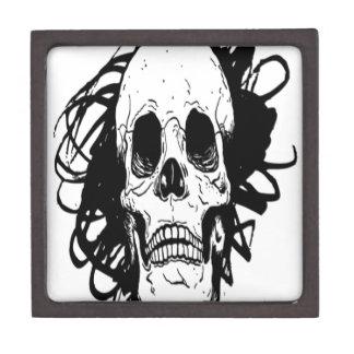 Diseño dibujado mano del cráneo cajas de regalo de calidad