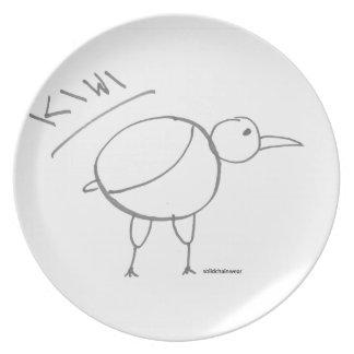 diseño dibujado mano del pájaro del kiwi por solid plato de cena