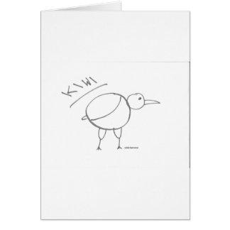 diseño dibujado mano del pájaro del kiwi por solid tarjeton