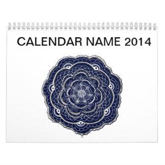 Diseño dibujado mano del tapetito de la flor calendario