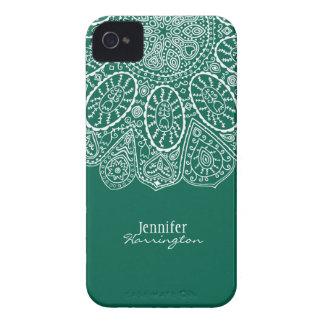 Diseño dibujado mano Forest Green del círculo de iPhone 4 Cárcasa