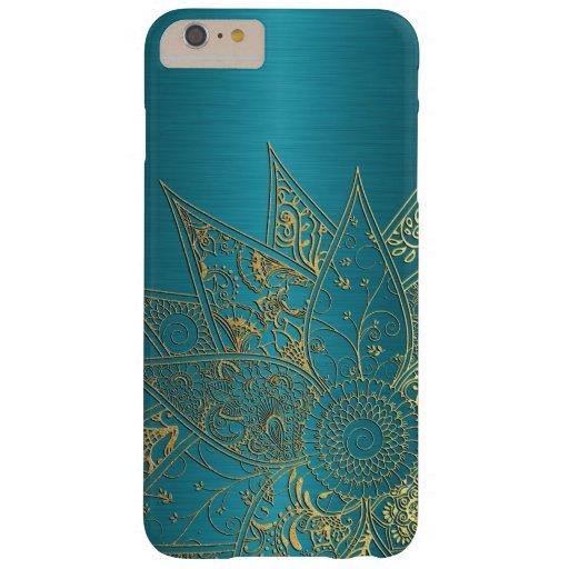 Diseño dibujado mano linda de la alheña de la flor funda de iPhone 6 plus barely there
