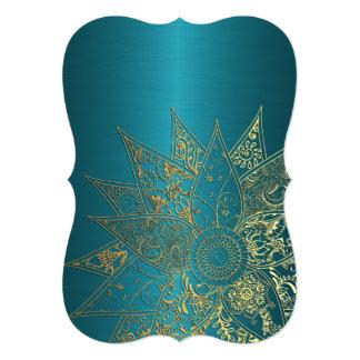Diseño dibujado mano linda de la alheña de la flor invitación 12,7 x 17,8 cm