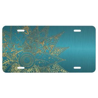 Diseño dibujado mano linda de la alheña de la flor placa de matrícula