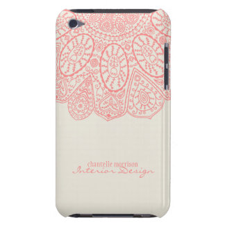 Diseño dibujado mano rosada coralina del modelo barely there iPod cobertura
