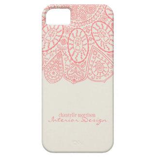 Diseño dibujado mano rosada coralina del modelo iPhone 5 Case-Mate cobertura