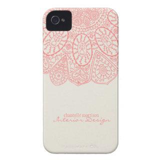 Diseño dibujado mano rosada coralina del modelo Case-Mate iPhone 4 carcasa