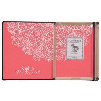 Diseño dibujado mano rosada coralina del modelo iPad carcasas