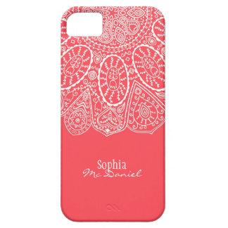 Diseño dibujado mano rosada coralina del modelo iPhone 5 carcasas