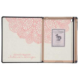Diseño dibujado mano rosada coralina del modelo iPad cobertura