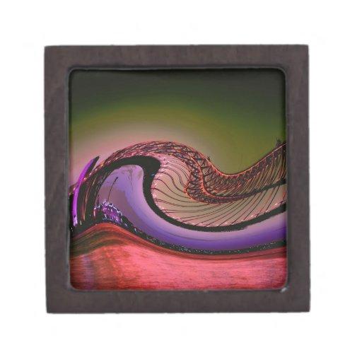 Diseño digital abstracto, ondas y giros caja de recuerdo de calidad