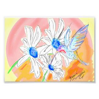 Diseño digital de la margarita del colibrí fotografías