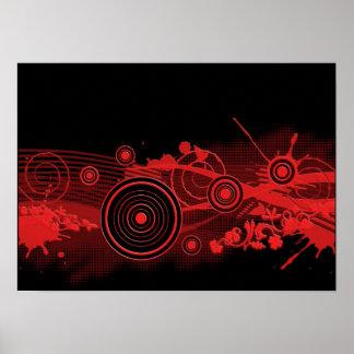 Diseño digital negro rojo del arte posters
