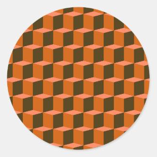 Diseño dimensional del modelo 3D del cubo 3 Pegatina Redonda