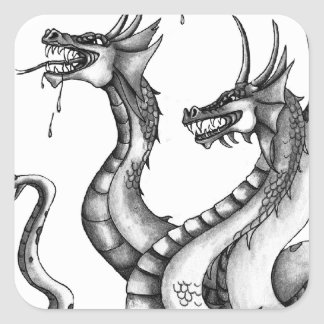 Diseño dirigido tres del Hydra Pegatina Cuadrada