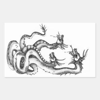 Diseño dirigido tres del Hydra Pegatina Rectangular