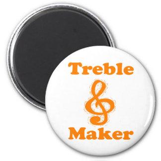 diseño divertido anaranjado de la música del clef  imán redondo 5 cm