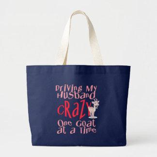 Diseño divertido de la cabra para las mujeres bolsa tela grande