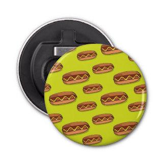 Diseño divertido de la comida de perrito caliente abrebotellas redondo