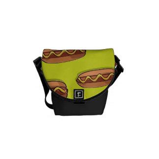 Diseño divertido de la comida de perrito caliente bolsas messenger