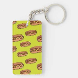 Diseño divertido de la comida de perrito caliente llavero rectangular acrílico a doble cara