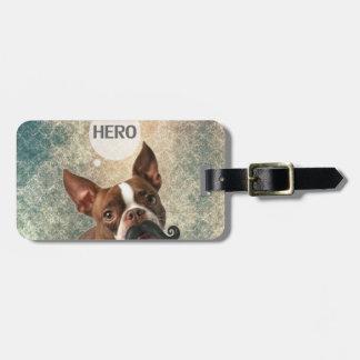 Diseño divertido de la foto del perro del bigote etiquetas de equipaje