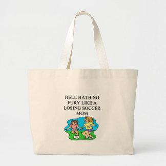 diseño divertido de la mamá del fútbol bolsa tela grande