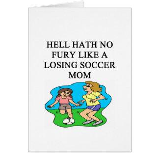 diseño divertido de la mamá del fútbol tarjetas