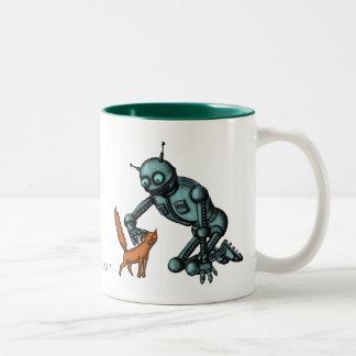 Diseño divertido de la taza del robot y del gato