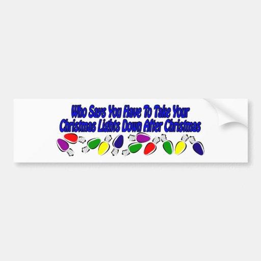 Diseño divertido de las luces de navidad pegatina de parachoque
