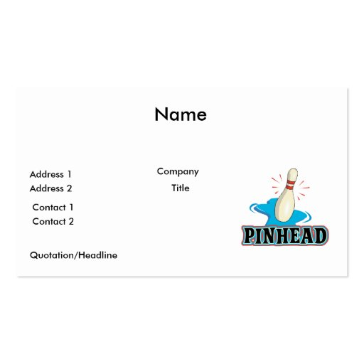 diseño divertido de los bolos de la cabeza de alfi tarjeta personal