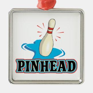 diseño divertido de los bolos de la cabeza de adorno cuadrado plateado