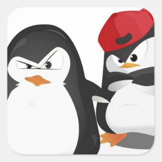 Diseño divertido de los pingüinos pegatina cuadrada