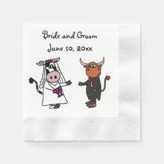 Diseño divertido del boda de la vaca y de Bull Servilletas De Papel