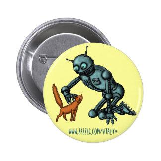 Diseño divertido del botón del robot y del gato pin redondo de 2 pulgadas
