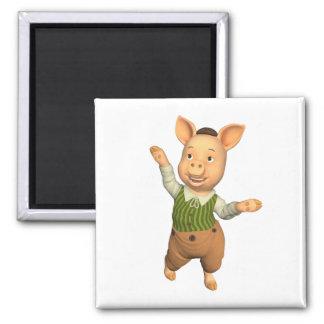 Diseño divertido del cerdo imán cuadrado