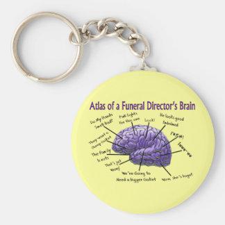 Diseño divertido del cerebro del director de funer llaveros