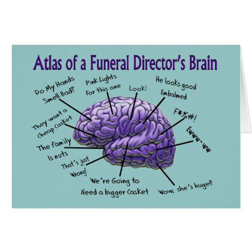 Diseño divertido del cerebro del director de funer felicitacion
