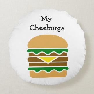 Diseño divertido del cheeseburger cojín redondo