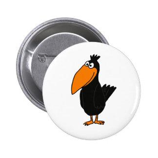 Diseño divertido del cuervo de los BU Pin Redondo De 2 Pulgadas