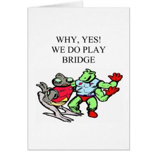 diseño divertido del jugador de puente tarjeta de felicitación